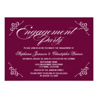 Calligraphy Elegance Plum Engagement Party Custom Invites