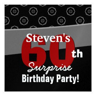 60th Surprise Birthday Black Red White Geometric Custom Invitation