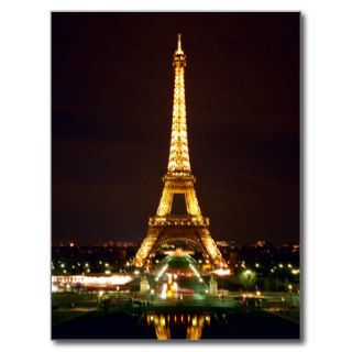 Eiffel Tower at Night   Color Post Cards