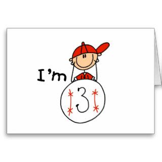 Boy's Baseball I'm 3 Tshirts and Gifts Greeting Card