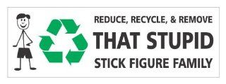 Reduce recycle remove that stupid stick figure family vinyl decals bumper stickers nobody cares abut stick figure family Automotive