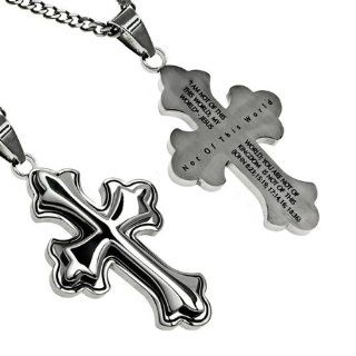 "Christian Mens Stainless Steel Abstinence ""Not of This World I Am Not of This World, You Are Not of This World, My Kingdom Is Not of This World."" John 823, 1519, 1714,16 1836 Deluxe Crusader Cross Necklace for Boys on a 20"" Curb Chain"