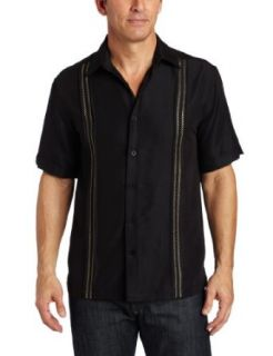 Cubavera Men's Short Sleeve Front Tuck With X Stitch Shirt, Jet Black, Small at  Men�s Clothing store