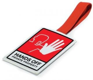"""Hands Off"" Leather Luggage Tag Novelty Buttons And Pins Clothing"