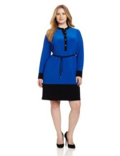 Calvin Klein Women's Colorblocked Shirt Dress, Ultramarine, 3X