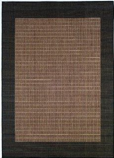 "Couristan Recife Checkered Field 1005/2500 2'3"" x 7'10"" Cocoa / Black Runner Area Rug"