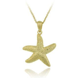 Gold Tone over Sterling Silver Starfish Pendant Jewelry