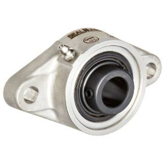 "Sealmaster SFT 16C CR Standard Duty Flange Unit, 2 Bolt, Corrosion Resistant, Regreasable, Contact Seals, Setscrew Locking Collar, 316 Stainless Steel Housing, 1"" Bore, 4 7/8"" Overall Length, 3 57/64"" Bolt Hole Spacing Width, 17/32"" Fla"
