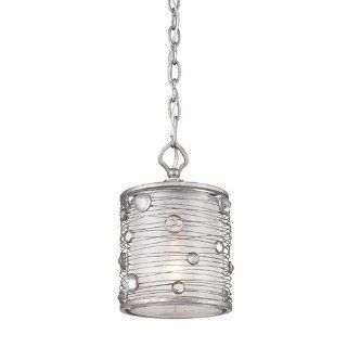 Golden Lighting 1993 M1L PS Mini Pendant with Sterling Mist Shades, Peruvian Silver Finish   Close To Ceiling Light Fixtures