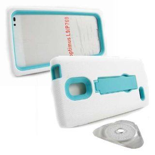 Hard Plastic Snap on Cover Fits LG P769 Optimus L9 Armor White/Turquoise Hybrid (Outside White Soft Silicone Skin, Inside Turquoise Front and Back Hard Case with Stand) + PRY Clip Opener T Mobile Cell Phones & Accessories