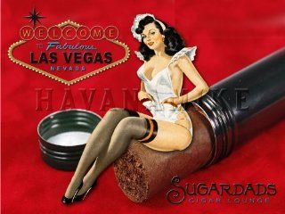 LAS VEGAS Cigar Lounge SUGARDADS Martini Bar Vintage Poster Pinup Girl Print RED 18X24
