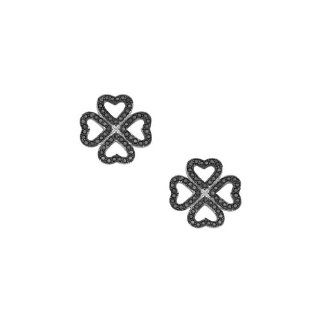 .925 Sterling Silver Rhodium Plated Micro Pave Black Cubic Zirconia Lucky Four Leaf Clover Design Earrings with Push Back Goldenmine Jewelry