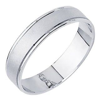 14K White Gold Matte Embossed Designer Wedding Band Ring for Men & Women The World Jewelry Center Jewelry