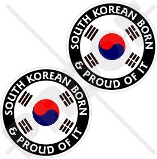 "SOUTH KOREA Born & Proud Daehan Minguk HANGUK Korean 75mm (3"") Vinyl Bumper Stickers, Decals x2"