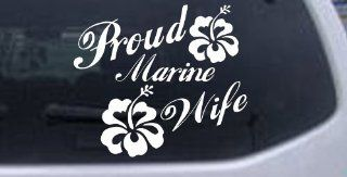 Proud Marine Wife Hibiscus Flowers Decal Military Car Window Wall Laptop Decal Sticker    White 6in X 7.0in Automotive