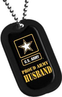 "United States Army Armed Forces ""Proud Army Husband"" Yellow Star Logo Symbols   Military Dog Tag Luggage Tag Key Chain Metal Chain Necklace"