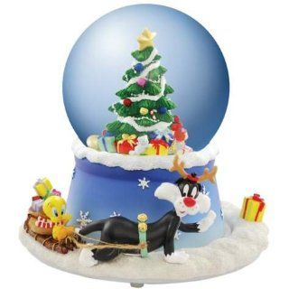 100mm Globe Tweety Bird and Sylvester with Christmas Tree Figurine   Snow Globes