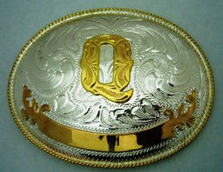 "Name Initial Letter Symbol Monogram Alphabet ""Q"" Rodeo Classic Cowgirl Cowboy Western Texas Men Women Gold and Silver Toned Oval Finishing Style Belt Buckle.  Other Products"