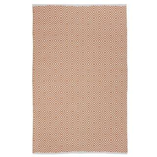 Indo Hand woven Veria Orange/ Off white Contemporary Geometric Area Rug (4' x 6') 3x5   4x6 Rugs