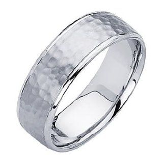 14K White Gold 7mm Comfort Fit Hammered Finish Designer Wedding Band Ring for Men & Women Men S Wedding Bands Hammered Jewelry