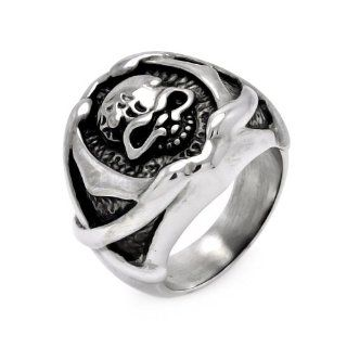 Stainless Steel 21.5mm High Polish Oxidized Skull Head Design Fashion Ring for Men (Size 9 to 13) Jewelry