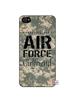 Proud Air Force Girlfriend United States USA Camo iPhone 4 Quality Hard Snap On Case for iPhone 4 4S 4G   AT&T Sprint Verizon   Black Frame Cell Phones & Accessories