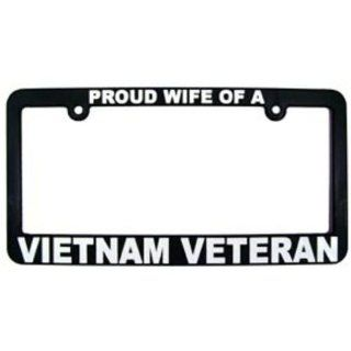 Proud Wife of a Vietnam Veteran License Plate Frame Automotive