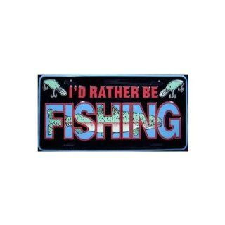 I'd Rather Be Fishing License Plate Automotive