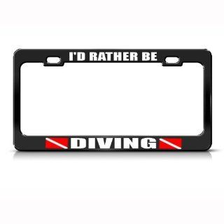 I'd Rather Be Diving Metal License Plate Frame Tag Holder Automotive
