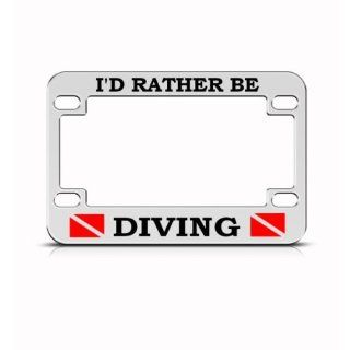 I'd Rather Be Scuba Diving Metal Bike Motorcycle License Plate Frame Holder Automotive