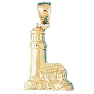 Dazzlers Solid 14 karats Gold Lighthouse Charm Pendant available in three colors from jewelsberry (weights 2.3 grams only) Pendant Necklaces Jewelry