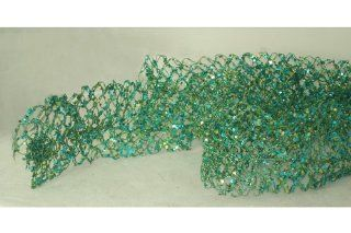 5' Sugared Fruit Turquoise Glittered & Wired Mesh Unlit Net Christmas Garland