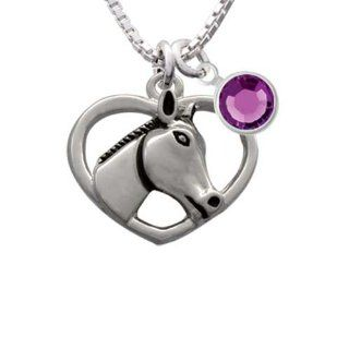 Heart with Horse Head Charm Necklace with Sapphire Crystal Drop Delight & Co. Jewelry