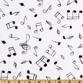 43'' Wide Timeless Treasures Music Note White Fabric By The Yard