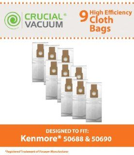 9 Kenmore 50688 50590 Allergen Filtration Vacuum Bags Fit Also Panasonic U 2, and Miele Upright Type Z vacuum cleaners; Compare to Kenmore Upright Part # 50688; Designed & Engineered By Crucial Vacuum   Household Vacuum Bags Upright