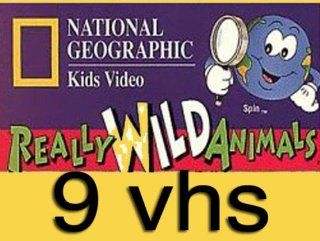 national geographic kids video set 9 vhs  National Geographic's Really Wild Animals Monkey Business and Other Family , Nat'l Geo Tropical Rain Forest, National Geographic's Really Wild Animals Wonders Down Under ,National Geographic's A