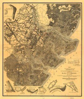 Civil War Map Reprint Map illustrating the defence of Savannah, Ga. and the operations resulting in its capture by the army commanded by Maj. Genl. W. T. Sherman. Dec. 21st 1864 Compiled 1880 81 under the direction of Bvt. Brig. Genl. O. M. Poe, Maj. Corp