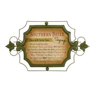 "25"" Antiqued Green and Pink Cordelia Southern Belle Saying Iron Wall Sign   Plaques"