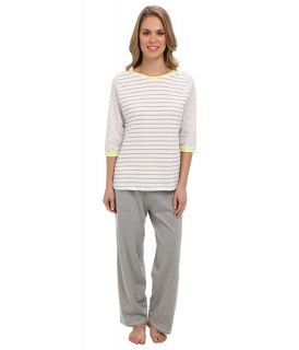 Kenneth Cole Reaction Multi Stripe 3/4 Sleep Top/Crop Pant Set Womens Pajama Sets (Blue)
