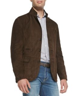 Mens Suede Three Button Thermore Jacket   Brunello Cucinelli   Brown (S/48)