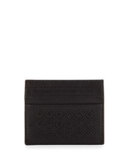 Mens Cabriolet Perforated Card Case, Black   Bottega Veneta   Black