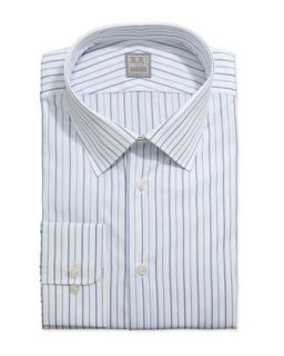 Mens Thin Striped Dress Shirt, White/Blue   Ike Behar   White (15R)