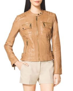 Womens Leather Moto Jacket   MICHAEL Michael Kors   Manilla (X SMALL)