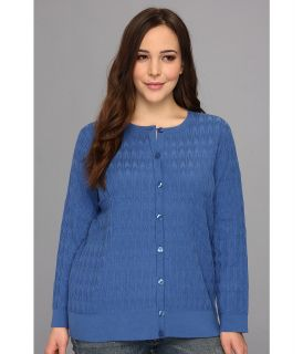 Pendleton Plus Size Stitched Cardigan Womens Sweater (Blue)