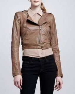 Womens Willa Cropped Leather Jacket   Rachel Zoe   Sandlewood (2)