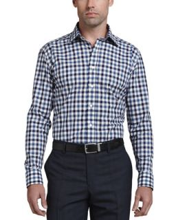 Mens Gingham Paisley Long Sleeve Shirt, Navy Blue   Etro   Blue pattern (44)