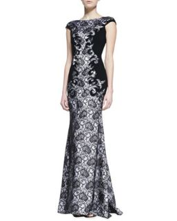 Womens Cap Sleeve Lace Gown, Black/White   Theia by Don ONeill