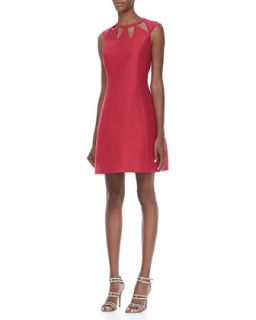Womens Cap Sleeve Cutout Dress   Halston Heritage   Raspberry (2)