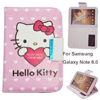 Hello Kitty Cute Leather Smart Case for Samsung Galaxy Samsung Galaxy Note 8.0 Tablet, N5100/N5110, (Samsung Galaxy Note 8.0, Kitty says love u) Computers & Accessories