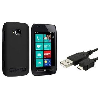 eForCity Black Rubber Coated Case + USB Data / Charging Data Cable compatible with Nokia Lumia 710 Cell Phones & Accessories
